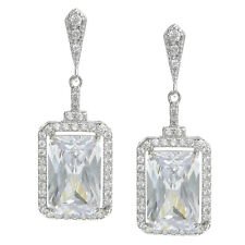 925 Sterling Silver Rectangle Clear CZ Crystal Dangle Charm Earring w/ Stud Post