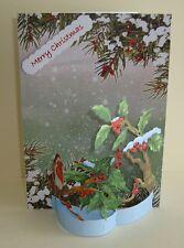 Holly & The Robin Christmas  3D Flectere  Handmade Card