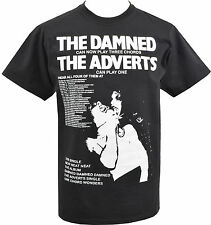 MENS BLACK T-SHIRT DAMNED & THE ADVERTS GIG GUIDE POSTER 1977 PUNK ROCK S-5XL