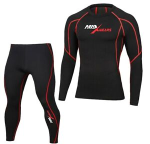 Mens Base layer Compression Armour Top Skin Full Sleeve Fit Shirt Pants Tights