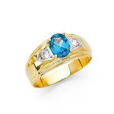 sólido 14k Oro Amarillo Banda Azul Anillo con circonita Moda para hombre