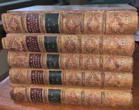 1883, ELIZABETH BARRETT BROWNING'S POETICAL WORKS, 5 LEATHER BOUND VOLUMES