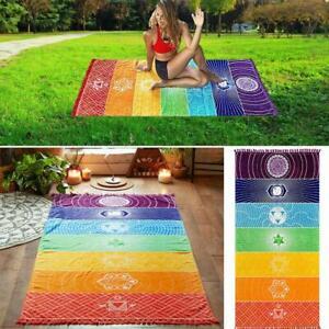 Rainbow Beach Mat Mandala Blanket Wall Hanging Tapestry 2021 Towel Stripe P1D5