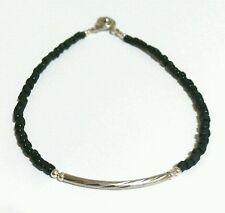 Afghan Black Tiny Seed Glass Beads Bracelet Armband Silver Plated Vintage Tribal