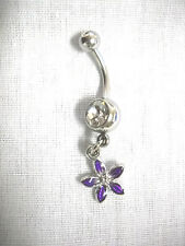 On Clear Cz Belly Button Ring Clearance Sale Small Purple Petal Flower Charm