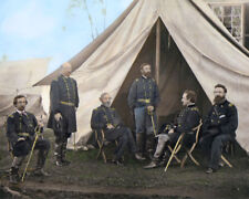 """COMMANDERS WARREN FRENCH MEADE SYKES POTOMAC 1863 8X10"""" HAND COLOR TINTED PHOTO"""