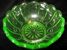 Green Vaseline glass pattern candy jam soap dish master salt bowl uranium yellow