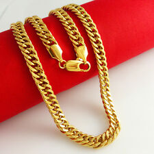 12MM 23.7'' Bold Heavy 24K Yellow Gold Plated Heavy Bold Mens Chain Necklace