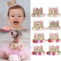 Cute Baby Girl Birthday Party Hat Flower Princess Crown Decor Hair Accessory