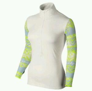 649089-121 New with Tag NIKE Women 1/2 Zip pro hyperwarm thermal running shirt