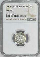 Costa Rica: 10 Centimos 1912 GCR, NGC MS 63, KM# 146 Philadelphia Mint Silver