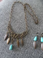Tone - Turquoise Beads Southwestern/Tribal Collection Necklace &Earrings~Bronze