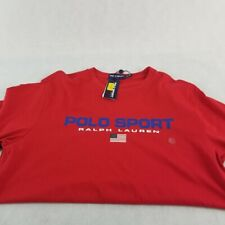 New Polo Ralph Lauren T Shirt LargeTall  Short/S Red Polo Sport American Flag