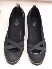 Women's MERONA Black Fabric FLAT Ballerina SHOES 6.5 Comfort Ballet Pump Loafers