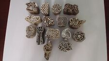 SET OF 15 INDIAN HANDCARVED STAMP/PRINTING WOOD BLOCKS HENNA/FABRIC/PAPER ART
