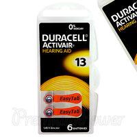 Duracell Activair Hearing Aid 13 Size batteries Zinc air x 6 - 60 /120 cells