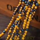 New 200pcs 4mm Round Glass Loose Spacer Beads Porcelain Yellow Half Blue