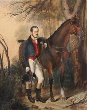 HENRY 1837 GOUACHE CAVALIER ET SON CHEVAL