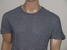 Armani Exchange Auténtico Forrado Crew T Camisa blanca / Negro NUEVO CON