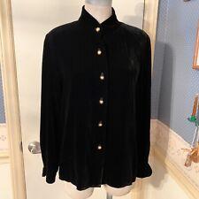 Talbots Black Sz 8P Velvet Cardigan Sweater Mandarin Collar Gold Buttons