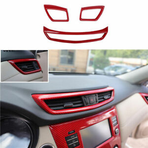 For Nissan Rogue 2014-2020 Red Carbon Fiber Middle Air Outlet Vent Cover Trim