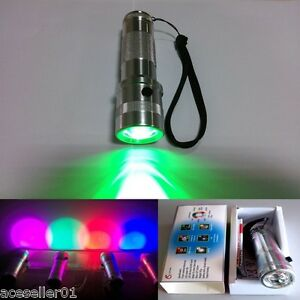 Colorshine 10 Color Changing RGB LED Flashlight 3W RGB LED Multicolor Torch Part