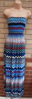 COLLEXION BLUE RED WHITE CHEVRON TRIBAL RUCHED BANDEAU LONG MAXI DRESS M 12