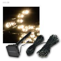 Solar LED EXTERIOR Guirnalda de luces con 50 Leds Blanco cálido