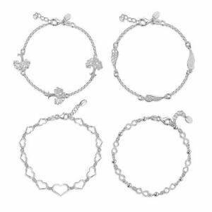 Amberta 925 Sterling Silver Adjustable Rolo Chain Bracelet with Charms for Women