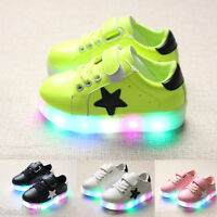 Boys Girls LED Light Lace Up Luminous Sneakers Kids Colorful Casual Shoes SH