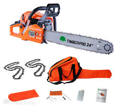 "TIMBERPRO 24"" 62cc Petrol Chainsaw & 2x 24 Inch Saw Chain. Assisted Easy Start"