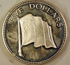 1974 Bahamas $5 Dollars Flag Silver Gem Proof Coin