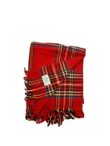 Vintage Faribo 100% Wool Blanket Red Plaid Throw Fringe Luxury Quilt Cover USA
