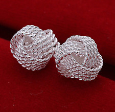 925 Sterling Silver Filled ANTIQUE Filigree Knot Twist MESH Earrings LADIES STUD