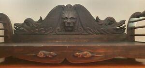 Rare Antique Gothic Pet Cat Dog Bed superb hand carved Lion, Sea Serpent, Mice