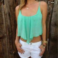 Women Tank Top T-Shirt Irregular Chiffon Blouse Fashion Tops Sling Tee shirt