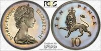 1983 GREAT BRITAIN 10 PENCE PCGS PR66DCAM TONED POP 1 ONLY 4 GRADED HIGHER