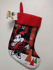 DISNEY Store Christmas Minnie Mouse Holiday Stocking Plush Rare High Quality