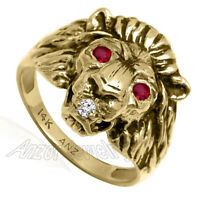 Men's Lion Ring 14k Yellow Gold Natural Diamond and Ruby Black antique finish