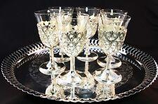 Vintage Filigree Silver Plate Holders & Hand Blown Liquor Glasses/Tray 7-Pc Set