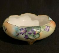 Antique Hohenzollern Scalloped Embossed Footed Bowl Hand Painted Violets Signed