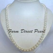 "30"" Inch Long Genuine 8-9mm White Pearl Strand Necklace Cultured Freshwater"
