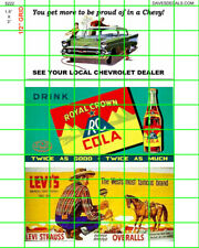 "5222 DAVE'S DETAILS 1.5""X3"" BILLBOARD SIGNS AUTO, COLA and CLOTHING CA 1950's"