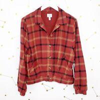 NWT Sisstrevolution Jacket Sz Medium Red Plaid Lovin Bomber Button Down Flannel