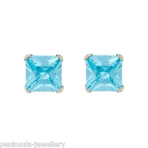 Sterling Silver Aquamarine CZ Studs 5mm square Earrings Gift Boxed Made in UK