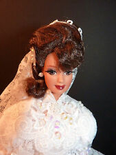 OOAK Barbie Spring Bride Repaint Stunning Handmade Ruffled Dress with Long Veil