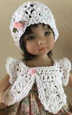 "Crochet ""White "" Sweater & Hat ~13"" Or 14"" Dolls"