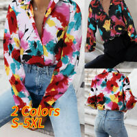 Women Long Sleeve V-Neck Floral Button Down Shirt Holiday Tunic Top Blouse Plus
