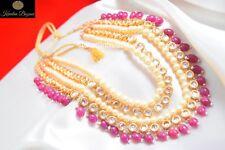 Indian Kundan Long Necklace Set Pearl Bollywood Bridal Royal Wedding Jewelry