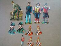 """#Original 1800's Victorian Soldiers Mixed Lot of 11 Die Cut Paper 1 x 3"""""""
